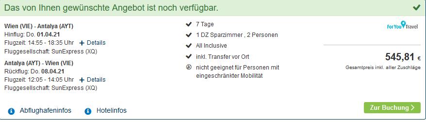 Screenshot Deal Okurcalar Urlaub - Türkei All Inclusive nur 273,00€