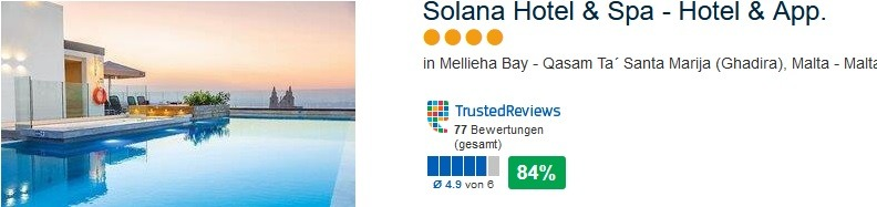 Solana Hotel 84% positive Bewertung