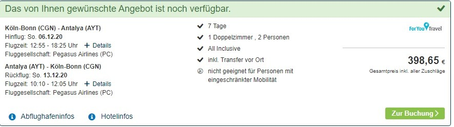 Screenshot Reiseangebot Türkei All Inclusive 7 Tage unter 200,00€ p.P