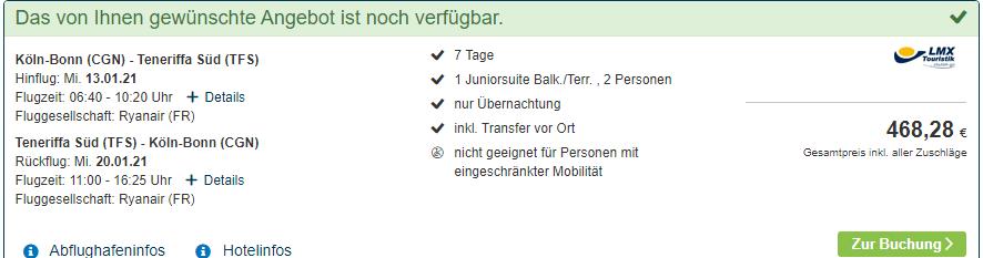 Screenshot Reiseangebot für zwei Personen ab Köln Bonn Gesamtpreis für beide Reisende