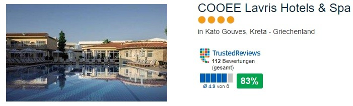 4 Sterne Hotel Kato Vouves auf Kreta - Cooee Lavirs Hotels & Spa mit 83% positiver Bewertung