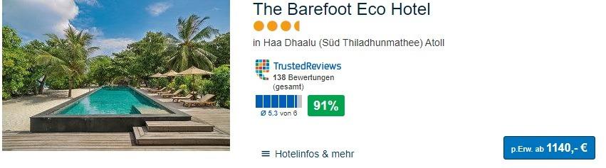 Malediven Flitterwochen ab 1140,00€ pro Person Pauschalreise
