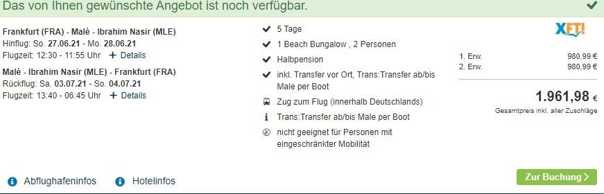 Screenshot Deal Reiseangebot 980,99€