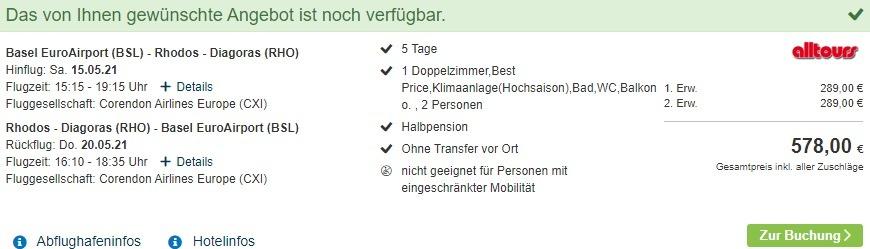 Screenshot Reiseangebot Pauschalreise Rhodos mit alltours im Cathrin Hotel inklusive Halbpension nur 289,00€